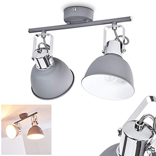 Deckenleuchte Dompierre, Deckenlampe aus Metall in Grau/Weiß, 2-flammig, mit verstellbaren Strahlern, 2 x E14-Fassung max. 25 Watt, Spot im Retro/Vintage Design, für LED Leuchtmittel geeignet