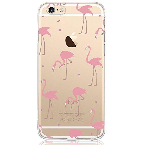 Oveo kompatibel mit iPhone 6 / 6S Hülle, Dolce Vita Serie Transparente Silikon Handyhülle Accessoires für Damen/Mädchen, Durchsichtig mit Rot Rosa Flamingo Muster