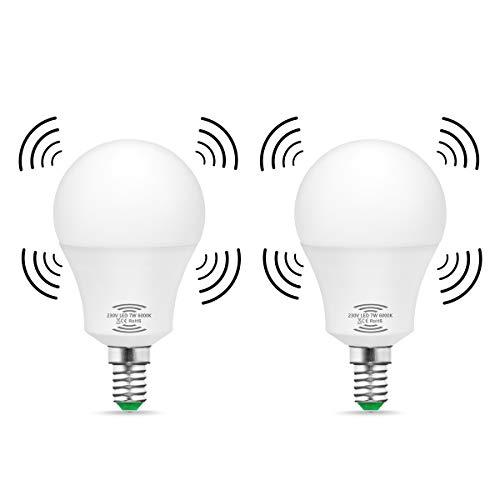 LED-Leuchtmittel mit Bewegunssensor, Techgomade E14, 7W, Entspricht 60W Glühlampe, Tag weiß 6000K, Mit automatischer An-/Aus-Funktion, Für Treppen, Durchgang, Flur, 2 Stück