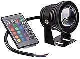Ghongrm Fuente Lámpara de la Piscina LED de Control Remoto Luz de Color bajo el Agua Cambio de Color Aquarium Pond Lights (Black Shell RGB) 10W