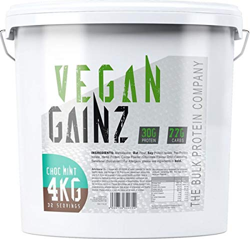 The Bulk Protein Company Vegan Gainz Powder 4kg Plant Based Weight Gainer, Light Green, Chocolate Mint, 30g Per Serving