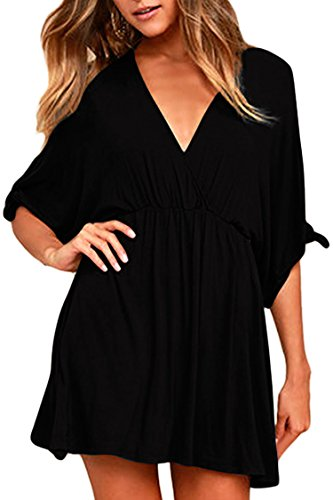 Meenew Women's Loose Summer Casual Skater Dress Bikini Cover Up Dress Black XXL