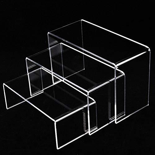 SNIIA Expositor Metacrilato Soporte de Acrílico Transparente, Accesorios de Vitrinas Elevadoras de Exhibición de Joyas para Figuras, lápiz Labial, Esmalte de uñas y Joyas- 1 Juego