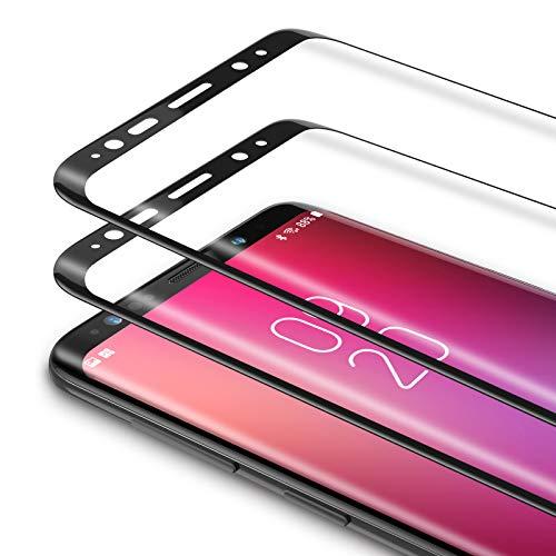 Bewahly Cristal Templado para Samsung Galaxy S9 Plus [2 Piezas], 3D Curvado Completa Cobertura Protector Pantalla, 9H Dureza Alta Definicion Vidrio Templado Sin Burbujas para Samsung S9 Plus (Negro)