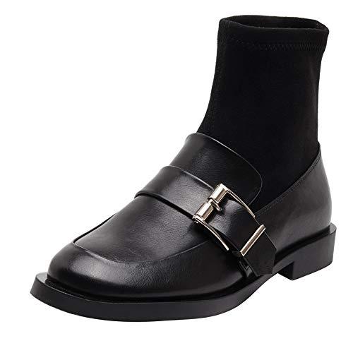 Shukun enkellaarsjes Sokken Lage hak riem gesp dun skinny laarzen korte buis korte laarzen vrouwelijke dikke met platte sokken schoenen