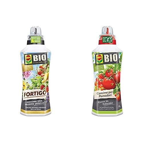 Compo Bio Fortigo Concime Organico Universale, Liquido, Per Orto E Giardino & Bio Concime Liquido Per Pomodori, Ricco In Potassio, Consentito In Agricoltura Biologica, 1 L
