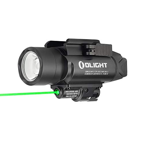 OLIGHT Baldr Pro 1350 Lumens Neutral White LED Tactical Flashlight with Green Light, Compatible with 1913 or GL Rail, Powered by Two 1600mAh CR123A Batteries (Black)