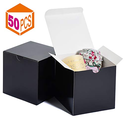 Mesha Cardboard Gift Boxes 50 Pcs-4X4X4in Favor for Bridesmaid Proposal/Birthday/Party/Wedding, Black Kraft Paper Present Packaging Box with Lids, Decorative Gift Wrap Boxes Bulk for Crafting/Cupcake