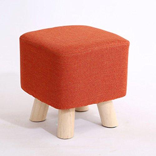 Salon tabouret de canapé bois massif tabouret de la famille petit tabouret 27 * 27 * 28cm (Color : Orange)