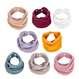 Muslin Baby Bandana Bibs, Multi-Use Scarf Bibs, Super Soft & Absorbent Drooling Bibs, Breathable Cotton Burp Cloths, Size Adjustable for Unisex Newborns/Babies/Infants/Toddlers, 8 Pack (Solid Color)