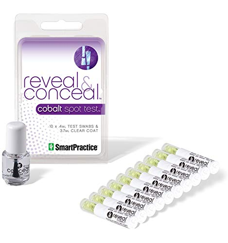 Reveal and Conceal Cobalt Test Kit by Smart Practice - Detecting Cobalt is a Snap - Test for Cobalt in Your Jewelry and Prevent Skin Exposure With Liquid Clear Coat - Includes 10 Test Swabs Kit Contents
