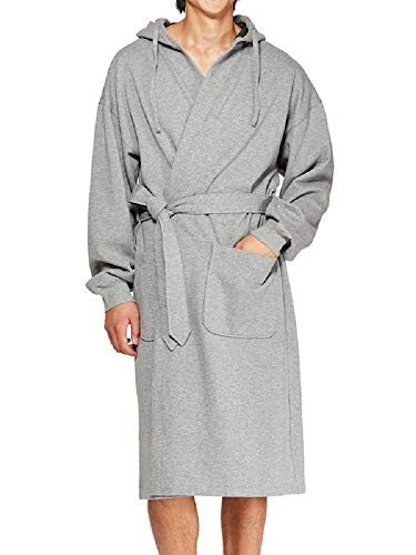 Hanes Men's Athletic Fleece Hooded Robe, Smoke Heather, One Size Fits Most