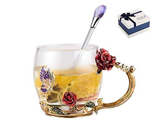 Do4U Frauen Einzigartige Neuheit 3D Blume Glas Kaffeetassen Tassen mit Löffel perfekt für Espresso,Wasser,Saft,Tee,heiße Getränke,Latte,Milch,Geschenk kurz (rote Rose, niedrig)