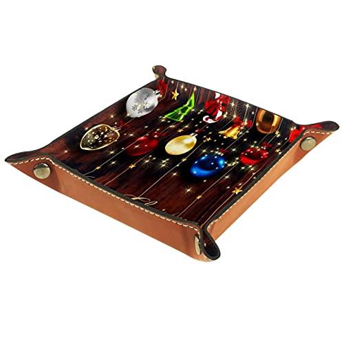 Joyas Bandeja de llaves 16x16CM,Bolas colgando sobre tela de tablones de madera