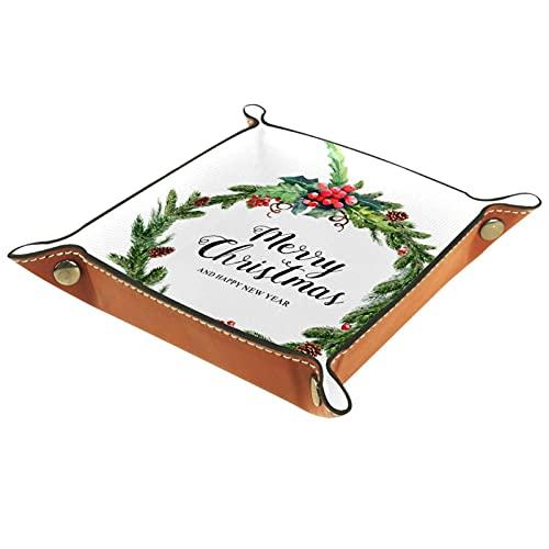 Caja de almacenamiento pequeña, bandeja de valet para hombre,Guirnalda de acuarela Feliz Navidad ,Organizador de cuero para llaves de caja de monedas