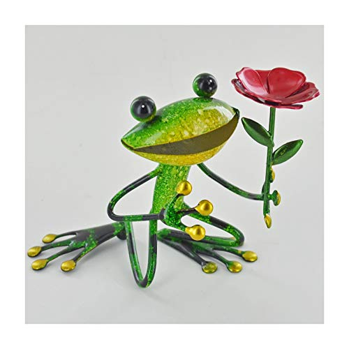 FABULOUS GREEN METAL GARDEN FROG WITH FLOWER SCULPTURE ORNAMENT FIGURE FROGS