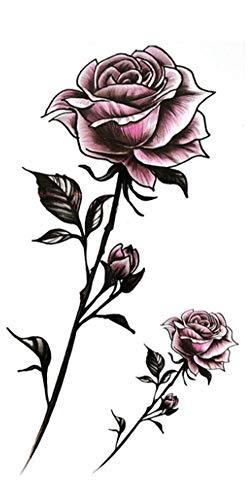 EROSPA® Tattoo-Bogen temporär / Sticker - 2 Rosen mit Stiel - Wasserfest