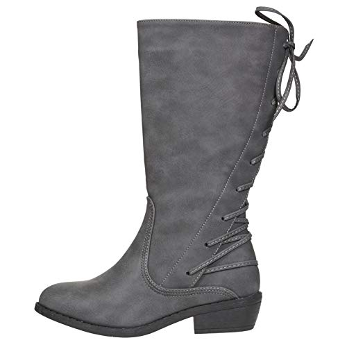 bebe Girls Riding Boots Size 2 with Lace Up Back Casual Dress Fashion Shoes Grey