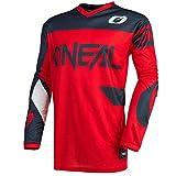 O'Neal | Camiseta de Motocross | Enduro MX | Transpirable, protección Acolchada para el Codo, Apto para el máximo Rango de Movimiento | Jersey Element Racewear | Adultos | Gris Rojo | Talla XXL