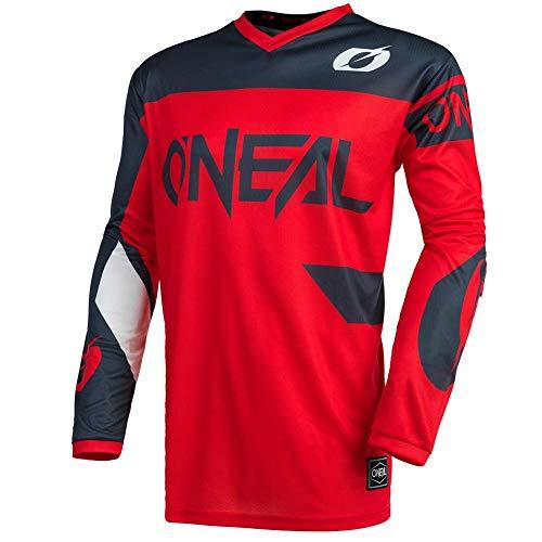 O'Neal | Camiseta de Motocross | Enduro MX | Transpirable, protección Acolchada para el Codo, Apto para la máxima amplitud de Movimiento | Jersey Element Racewear | Adultos | Gris Rojo | Talla L