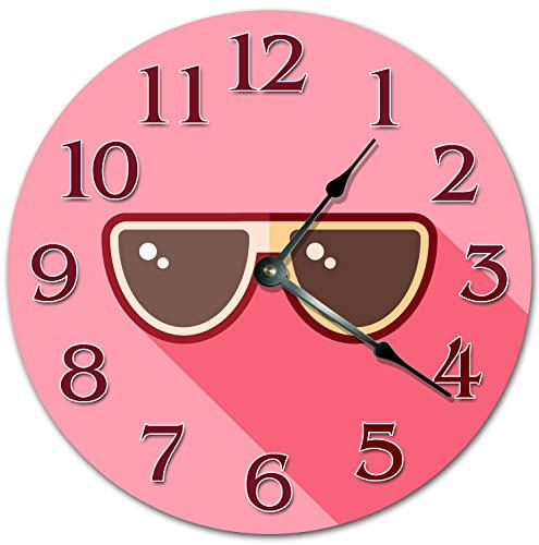 Reloj de pared grande de 10 pulgadas con gafas de sol de dibujos animados para sala de estar, reloj de pared de 10 pulgadas