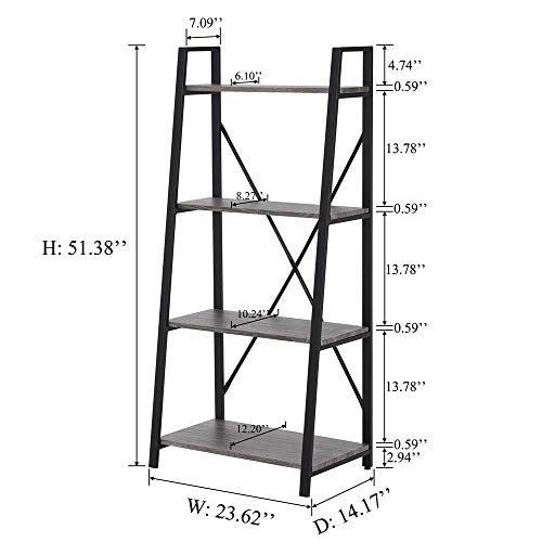 BON AUGURE Ladder Shelf 4 Tier Leaning Industrial Bookshelf, Rustic Wood Metal Ladder Bookcase, Standing Storage Book Shelves for Living Room (Dark Gray Oak)