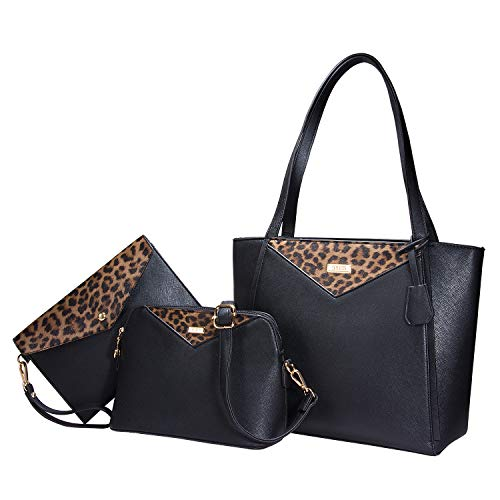 TIBES Borse a tracolla della borsa della spalla del modello del leopardo delle borse della borsa a 3 pezzi di modo delle donne E Nero