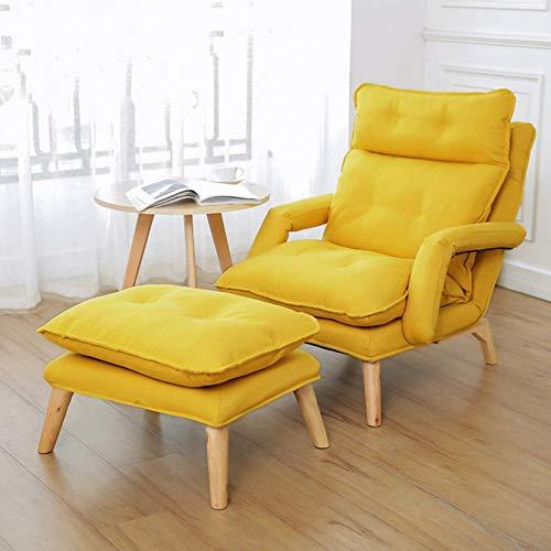 ZHJIUXING SF Sillón, Silla De Confort Tumbona De Tela Sofá Ajuste Plegable Dormitorio Sala De Estar Sillón De Ocio para Ancianos Contiene Reposapiés, Yellow