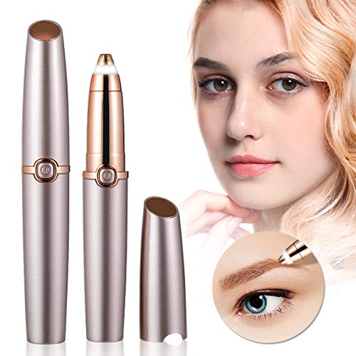 Eyebrow Trimmer Electric Eyebrow Hair trimmer Painless Hair Removal with LED Light for Good Finishing and Well Touch-Rose Gold (Battery Not Included)