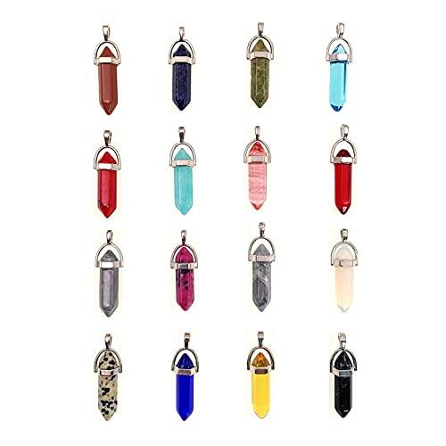 JZK 16 colgantes hexagonales de piedra para collares y gargantilla, collares de cristal y abalorios de piedra en forma de bala para hacer joyas