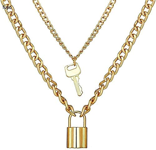 MNMXW Key Lock Necklace Double Layer Necklace Punk Link Chain Padlock Pendant Necklace Hip Hop Women Men Gothic Jewelry