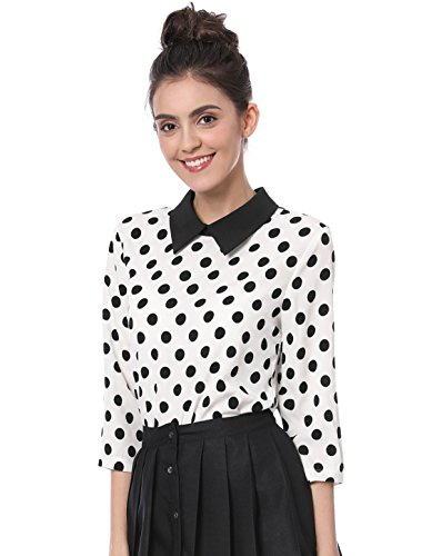 Allegra K Damen Langarm Bubikragen Colorblock Polka Dots Top Bluse Weiß L