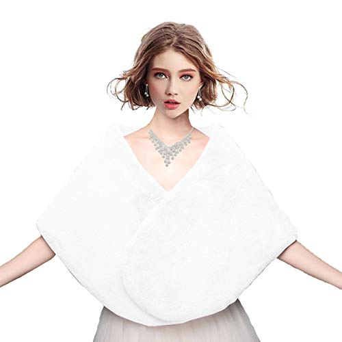 Faux Fur Shawl Wrap Shrug Stole for Women's Winter Bridal Wedding Prom Cover Up White (Best Weight Gainer Fur Hardgainer)
