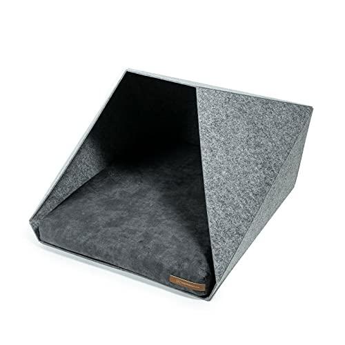 R Exproduct Pocket - Caseta para Perros de Tela ecológica de Pet, Resistente a los arañazos, Gris Claro y Gris Oscuro (60 x 45 x 63 cm)