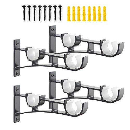 AddGrace Double Curtain Rod Brackets Set of 4 for Drapery Rod Window Hardware Rod Holders (Black)