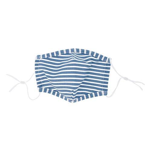 PARSA Beauty Waschbare Mund- und Nasenmaske für Erwachsene atmungsaktiv waschbar bis 90 Grad, verstellbar, 100% Baumwolle OEKO-TEX 100 Standard, mit Print Linien blau/weiß