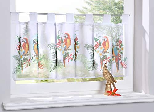 Gardinenbox Scheibengardine »Digital Druck« Voile Kurzgardine SChlaufen Transparent Digital Druck Küche Fenster Modern HxB 40x120 cm Papagei, 10000262