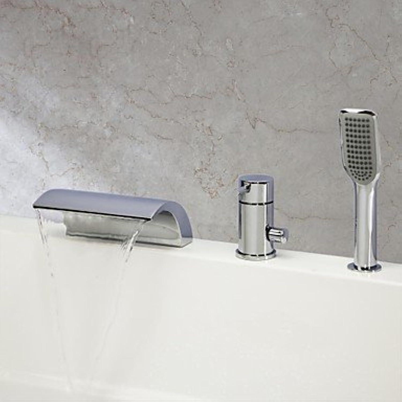 Axiba Badewannenarmaturen - Zeitgenssisch - Wasserfall Handdusche inklusive - Messing ( Chrom )