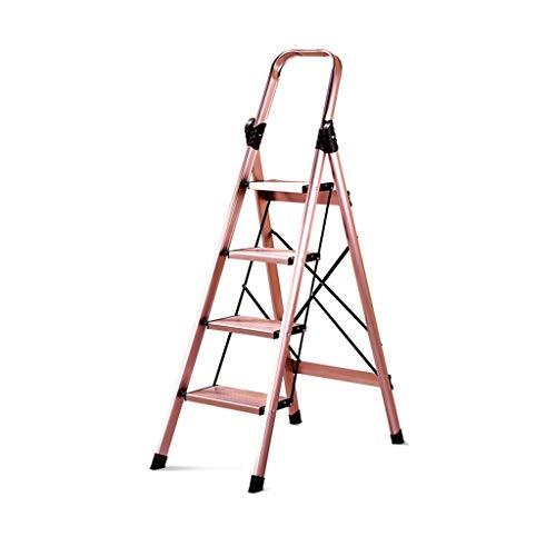 QFF Plegable de aleación de aluminio 3 Escalera plegable, Stepladder 4 Paso con resbalón no, Cocina Baranda Escalera compartida Escalera doblez (Color : A, Size : 45 * 83 * 145CM)