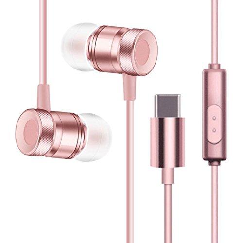 Xshuai High Quality Type-C In Ohr 1.3 m Stereo Kopfhörer Universal Headset Musik Kopfhörer Ohrhörer Für HTC U11 (Schwarz Rose Gold Gold Silber) (Rose Gold)