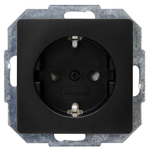 Kopp 920650080 Paris 920650080-Enchufe con protección elevada para Contacto, Color Negro Mate, 1 Stück