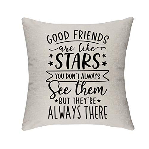 Morges Firendship presenter, Good Friends are Like Stars citat prydnadskudde kuddfodral, gåvor för bästa vänner, familjerum dekor, dekorativa fyrkantiga soffkuddar 45 cm x 45 cm