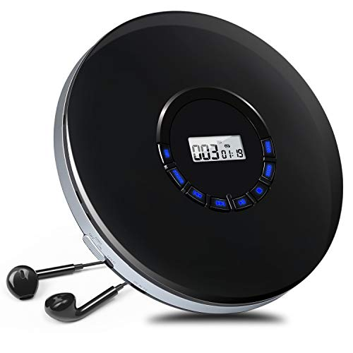 NAVISKAUTO Reproductor CD Portátil con Auriculares, Cable AUX, LED Pantalla, incorporada 12 Horas Batería Recargable, soporta formatos CD,MP3,WMA