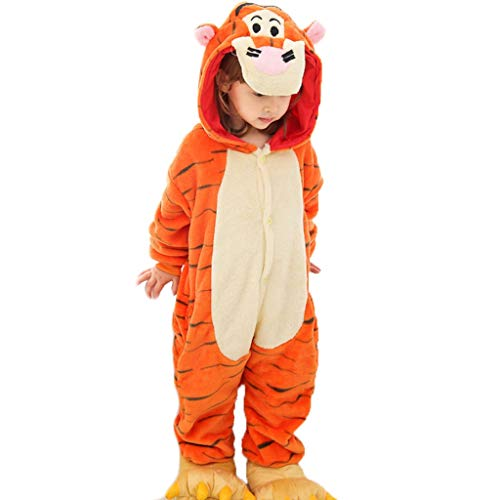Disfraces para niños Niños Animal Tiger Traje de Halloween Pijamas, Pijamas de los niños Unisex Animal, Naranja Pijamas de Animales para niños (Color : with Shoes, Size : 47.2)