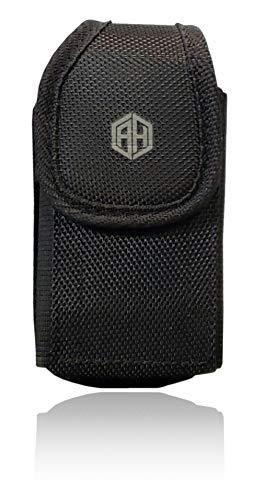 AH Military Grade Flip Cell Phone Cases, Rugged Holster Metal Clip Flip Holder Phone Nylon Belt Case Fits Kyocera Phone Gusto 3 Doro S2720, Duraxv Most FLIP Phones, Insulin Pump & Inhaler Holder