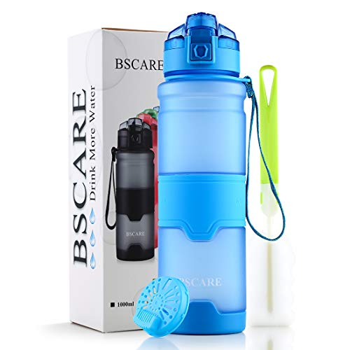 BSCare Sports Water Bottle, 36-Ounce Large BPA Free Water Bottle for Fitness, Outdoor Enthusiasts, Leakproof & Durable Eco-Friendly Tritan Drink Bottle with Filter, Pop Open Lid (Blue)
