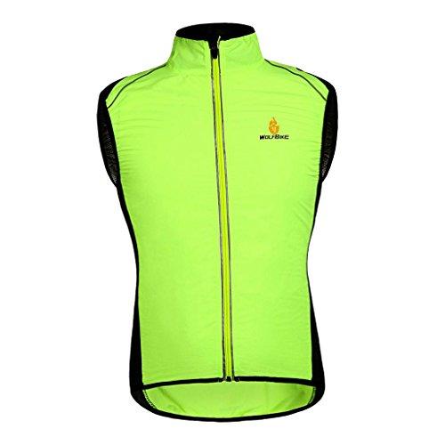 Toygogo Giacca Antivento Riflettente Unisex Antivento Per Ciclismo Notturno MTB Road Mountain Bike Equitazione Corsa Escursionismo Pesca - Verde, XL
