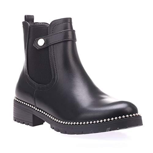 La Modeuse - Chelsea Boots à Bout Rond et Talon carré