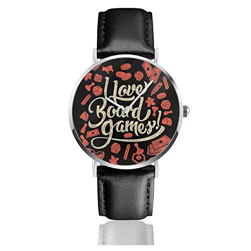I Love Board Games Reloj de cuarzo con movimiento de cuarzo, correa de cuero impermeable para hombres y mujeres, reloj casual simple