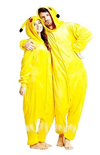 Inception Pro Infinite Disfraz de Pikachu para mujer – Disfraz – Pijama – Pokémon – Carnaval – Halloween – Unisex – Color amarillo – Adultos – Talla S – Niños – Idea de regalo